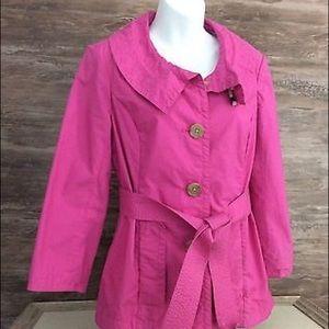 J. Crew Bright Pink Cotton Trench Coat sz 6